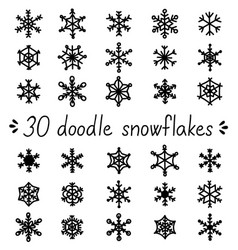 doodle snowflakes set of isolated handdrawn snow vector image vector image