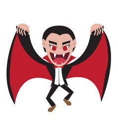 dracula with wing cape in flat style vector image