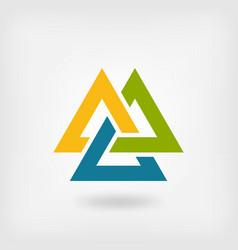 tricolor valknut symbol interlocked triangles vector image vector image