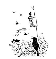 bird sitting on branch under nesting box vector image vector image