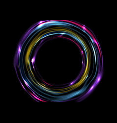 Colorful glowing electric neon rings circles vector