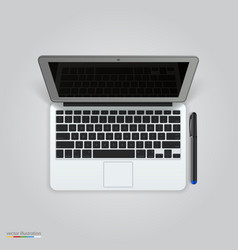 computer with a pen vector image