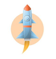 flying grey space rocket on circle against white vector image