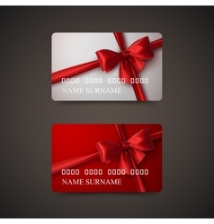 Gift Cards With Red Bow And Ribbon vector image