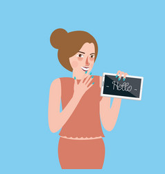 girl standing holding tablet screen says hello vector image vector image