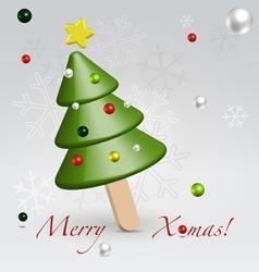 Green Christmas ice cream postcard vector image vector image