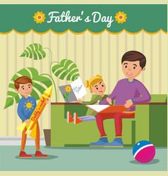 greeting happy fathers day concept vector image vector image
