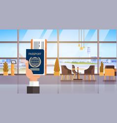 Hand holding passport ticket boarding pass travel vector