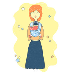 mother holds baby in a sling scarf cute cartoon vector image vector image