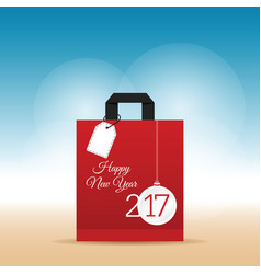 paper bag red with happy new year 2017 on it vector image vector image