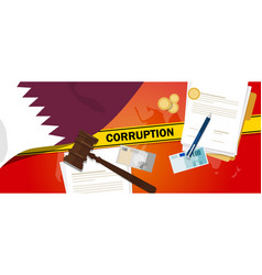 Qatar corruption money bribery financial law vector