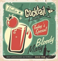 Retro cocktail lounge poster design Bloody Mary vector image