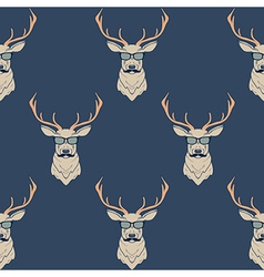seamless pattern with hipster deer wearing vector image