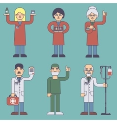 Set of flat style medical staff vector image vector image
