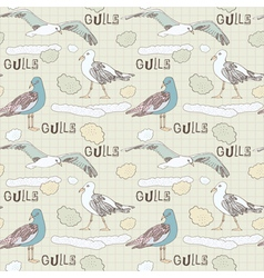 Vintage Seagulls Pattern Background vector image