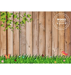 Fresh spring green grass with leaf plant over wood vector image vector image
