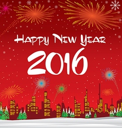 Happy New Year 2016 The white snow and Christmas vector image vector image