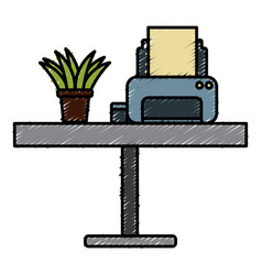 printer and plant on desk vector image vector image