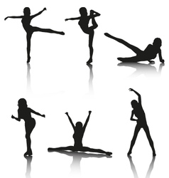 Set of Aerobic Silhouettes vector image