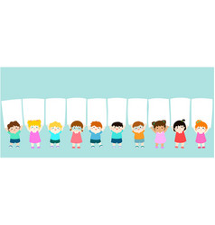 smiley kids hold blank banner vector image