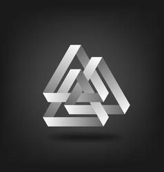 three silver interlocked triangles vector image