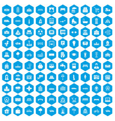 100 urban icons set blue vector
