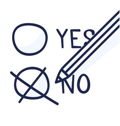 a pencil which marks option no a hand-drawn vector image