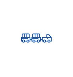 airoport baggage trailer line icon concept vector image