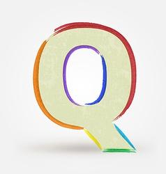 Alphabet letter Q Watercolor paint design element vector image