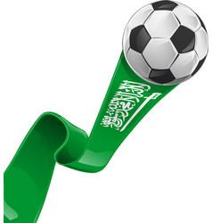 arabia saudita flag with soccer ball vector image