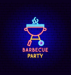 barbecue party neon label vector image