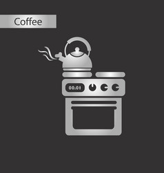 Black and white style icon of coffee kettle stove vector