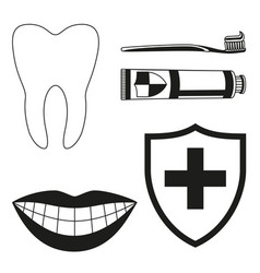 Black and white teeth cleaning silhouette set vector