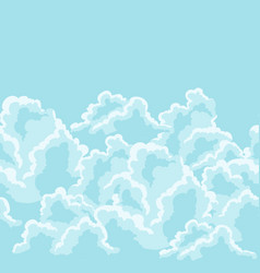 Blue sky seamless pattern with curly clouds vector