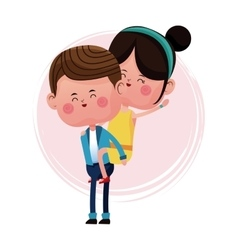 Boy carrying girl funny graphic vector