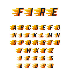 Burning running letters with flame hot fire vector
