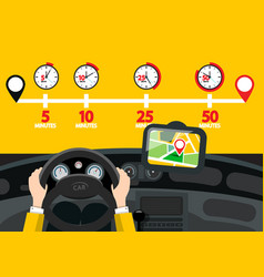 Car navigation with time icons road map with pins vector