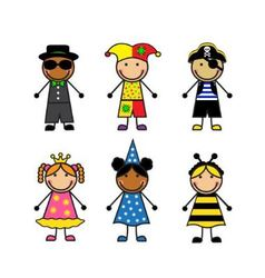 Cartoon children in different carnival costumes vector image