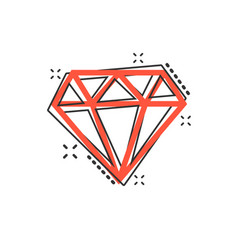 cartoon diamond jewel gem icon in comic style vector image