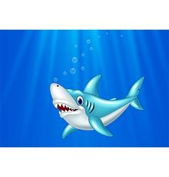 Cartoon shark swimming in the ocean vector