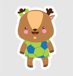 cheerful little stag in cartoon style wearing vector image