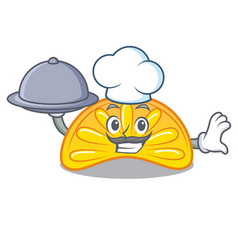 Chef with food orange jelly candy mascot cartoon vector