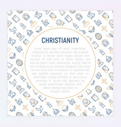 Christianity concept with thin line icons vector