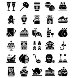 christmas food and drinks solid icon set vector image