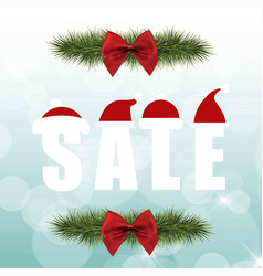 Christmas sale with red bow vector