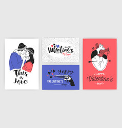 Collection of valentine s day greeting card party vector