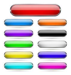 Colored glass 3d buttons with chrome frame oval vector