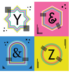 Colorful capital letters y z and ampersand emblems vector