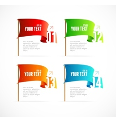 Colorful flags like options banner vector