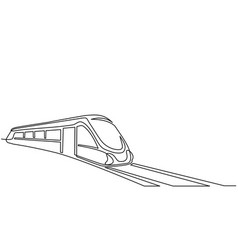 continuous one line drawing modern passenger train vector image